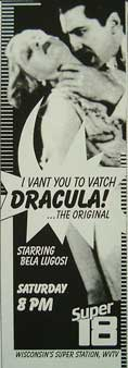 Movie ad from 1985 for Movie 18, Dracula